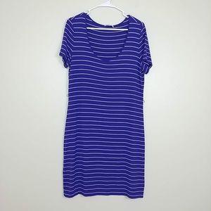 Calvin Klein Shift Dress SS Stripe Purple 12 #3102
